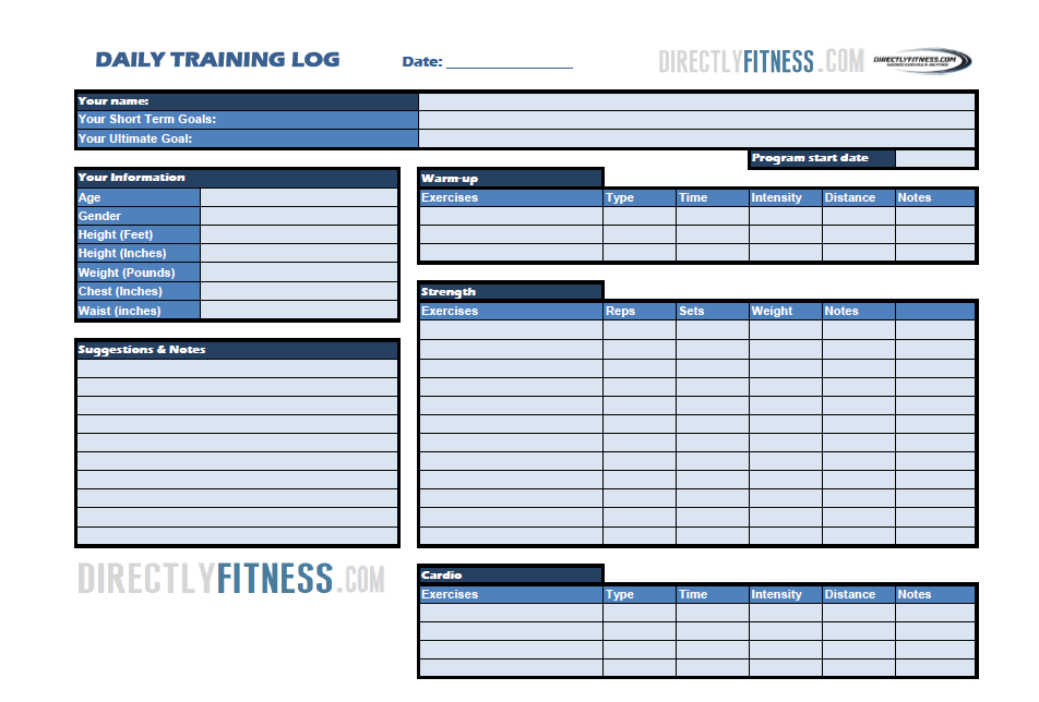 Free Fitness Logs: Daily and Weekly Training, Nutrition, and ...